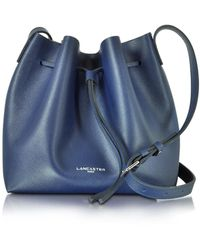Lancaster Pur & Element Saffiano Calf-leather Bucket Bag - Blue