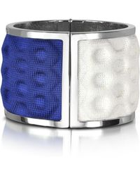 Avril 8790 | Palladium Plated Brass And White And Blue Viscose Bangle | Lyst