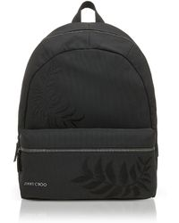 Jimmy Choo - Reed Black Woven Nylon Backpack W/feather Embroidery - Lyst