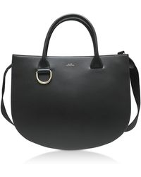 A.P.C. - Marion Black Leather Tote Bag - Lyst