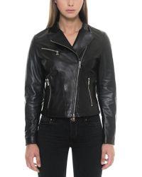 FORZIERI - Asymmetrical Zip Black Leather Women's Jacket - Lyst