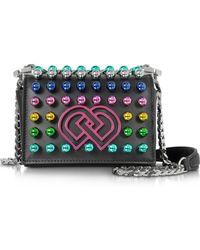 DSquared² Dd Black Leather Mini Shoulder Bag W/multicolor Studs