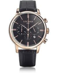LOCMAN - 1960 Rose Gold Pvd Stainlees Steel Men's Chronograph Watch W/black Strap - Lyst