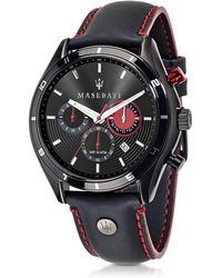 "Maserati Reloj ""Sorpasso"" Cronógrafo de Acero Negro y Correa de Cuero"