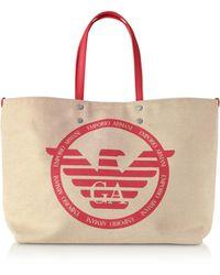 Emporio Armani Shopping Bag en Tissu avec Logo - Rouge
