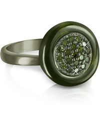 Azhar Olive Green Cubic Zirconia And Sterling Silver Ring - Black