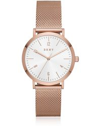 DKNY - Minetta Rose Gold Tone Stainless Steel Mesh Women's Watch - Lyst