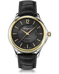 Ferragamo - Reloj para Hombres Ferragamo Time de Acero Inoxidable Bicolor con Correa Negra - Lyst