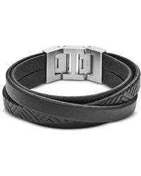Fossil Black Textured Wrap Men's Bracelet - Schwarz