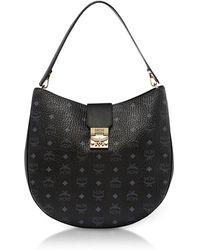 MCM - Patricia Visetos Black Large Hobo Bag - Lyst