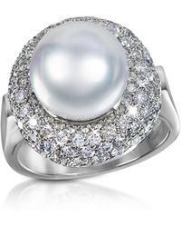 FORZIERI - 0.70 Ct Diamond And Pearl 18k Gold Ring - Lyst