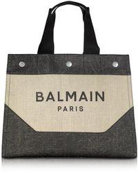 Balmain Tote Bag Homme Beige et Noir - Neutre