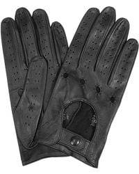 FORZIERI Women's Black Perforated Italian Leather Driving Gloves