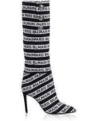 Balmain - Black And White Jane 95 Knee High Boots - Lyst