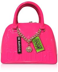 Versace Jeans Printed Logo Top Handle Bag w/ Charms - Rosa
