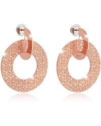 Rebecca R-Zero Rose Gold Over Bronze Drop Hoop Earrings - Pink