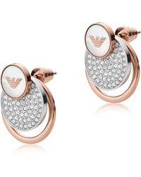 Emporio Armani - Ladies Signature Earrings Silver - Lyst