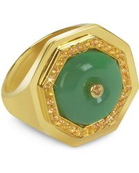 Sho London Gold Silver Ring - Green