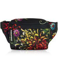 DSquared² Women's Multicolor Flowers Printed Satin Mini Belt Bag