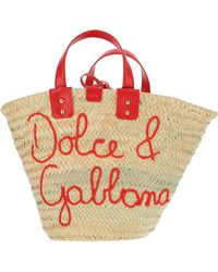 Dolce & Gabbana Woven Straw Signature Tote Bag - Red
