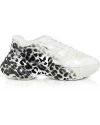 Pinko Rubino 3 Shoes To Rock Sneakers en Cuir Blanc Imprimé Animal