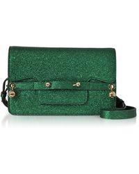 RED Valentino - Dark Green Crackled Metallic Leather Flap Top Crossbody Bag - Lyst