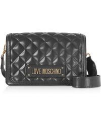 ee9a7ae3e44 Love Moschino - Quilted Eco-leather Signature Crossbody Bag - Lyst