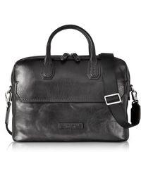 The Bridge - Williamsburg Black Leather Medium Briefcase W/shoulder Strap - Lyst