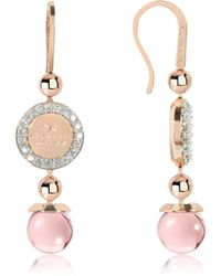 Rebecca - Boulevard Stone Rose Gold Over Bronze Dangle Earrings W/pink Hydrothermal Stone - Lyst