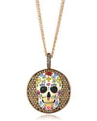 Azhar Calavera Skull Rhodium Plated Sterling Silver Pendant Necklace W/zirconia - Pink
