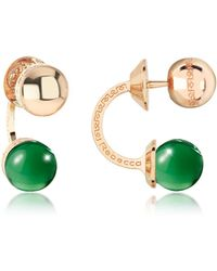 Rebecca Boulevard Stone Yellow Gold Over Bronze Double Ball Drop Earrings W/green Hydrothermal Stone
