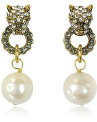 Alcozer & J - Small Panthers Goldtone Brass W/glass Pearls Drop Earrings - Lyst