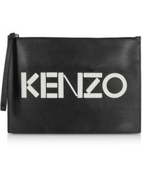 KENZO Kontrast Black Leather Large Pouch