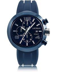 LOCMAN Tondo Cronografo in Acciaio con Set di 3 Cinturini in Pelle o Silicone - Blu