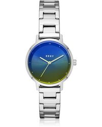 DKNY - The Modernist Silver Tone And Blue/yellow Crystal Women's Watch - Lyst