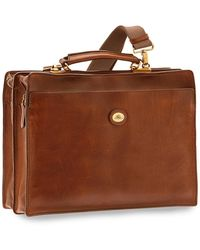 The Bridge Story Uomo Genuine Leather Double Comparment Briefcase - Brown
