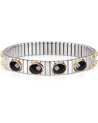 Nomination - Black Cubic Zirconia Stainless Steel W/golden Studs Women's Bracelet - Lyst