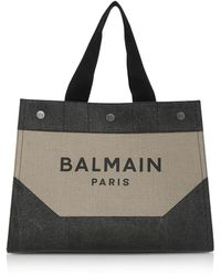 Balmain Beige and Black Signature Men's Tote Bag - Neutre