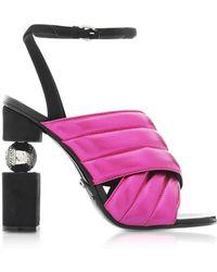 Balmain Jana Fuchsia Laminated High Heel Sandals - Multicolour