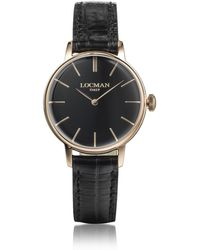 LOCMAN - 1960 Rose Gold Pvd Stainless Steel Women's Watch W/black Croco Embossed Leather Strap - Lyst