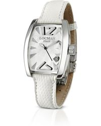 LOCMAN Panorama Armbanduhr aus weissem Perlmutt und Edelstahl - Weiß