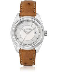 Trussardi Lady Stainlees Steel W/ostrich Leather Strap Women's Watch - Metallic