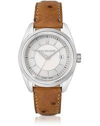 Trussardi - Lady Stainlees Steel W/ostrich Leather Strap Women's Watch - Lyst
