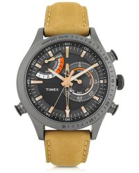 Timex Chrono Timer Grey Stainless Steel Case And Tan Leather Strap Men's Watch - Yellow