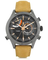 Timex - Chrono Timer Gray Stainless Steel Case And Tan Leather Strap Men's Watch - Lyst