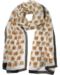 Moschino - All-over Teddy Bear Printed Mussoline Silk Stole - Lyst