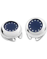 FORZIERI Silver Plated European Flag Button Covers - Metallic