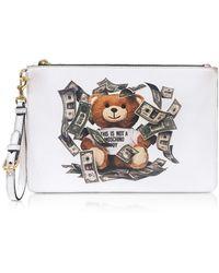 Moschino Dollar Teddy Bear White Clutch