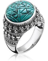Thomas Sabo - Blackened 925 Sterling Silver Skulls Turquoise Ring - Lyst
