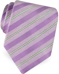 FORZIERI Gold Line- Pin Striped Diagonal Lines Woven Silk Tie - Purple